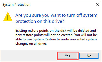 Confirming the disabling of system protection in Windows 10