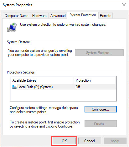 Completing the disabling of system protection in Windows 10