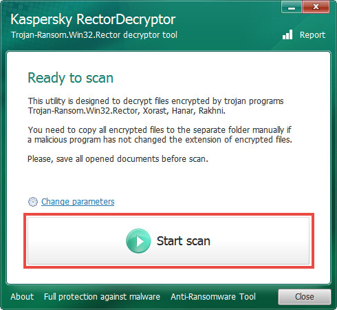 Starting a scan with RectorDecryptor