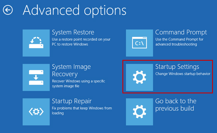 Opening the Windows startup settings