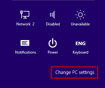 Changing PC settings in Windows 8, 8.1