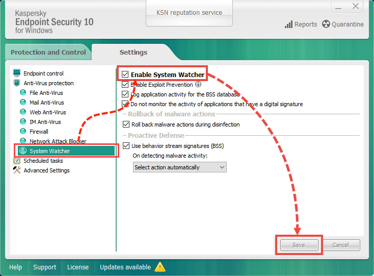 How to enable System Watcher in Kaspersky Endpoint Security 10 for Windows