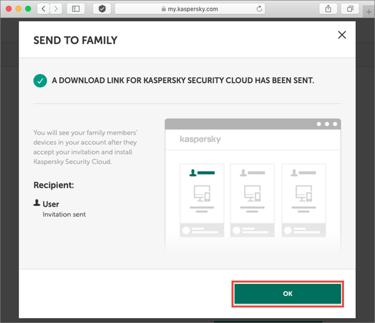A subscription for Kaspersky Security Cloud has been sent
