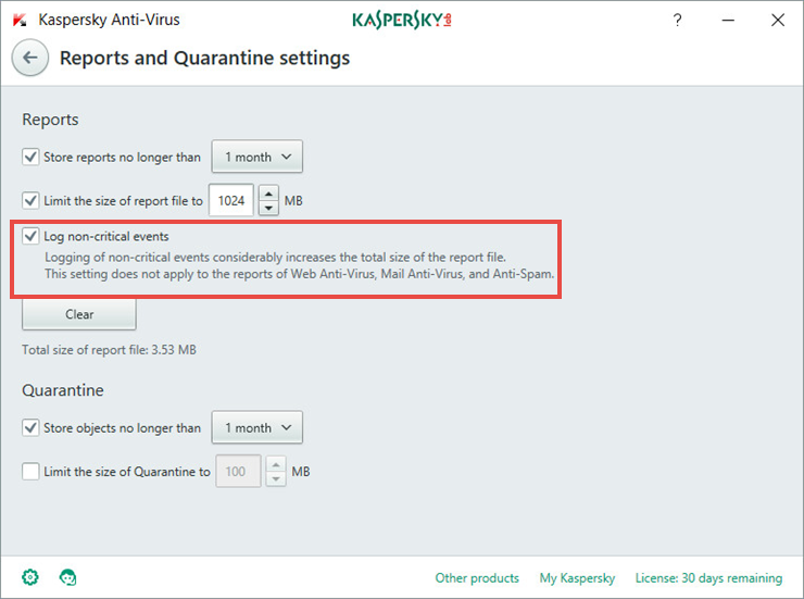 Image: the Reports and Quarantine window in Kaspersky Anti-Virus 2018