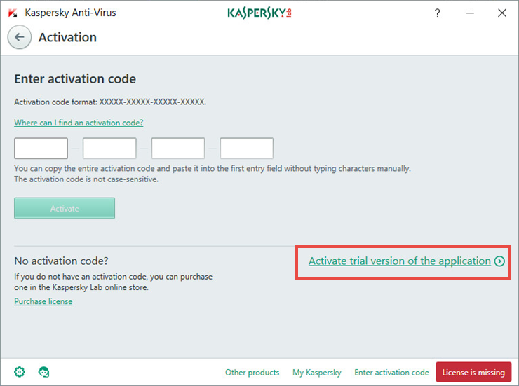 Image: the activation window of Kaspersky Anti-Virus 2018