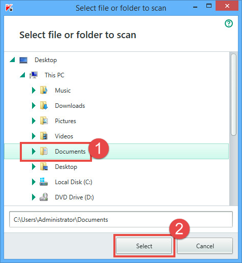Image: select the file to scan