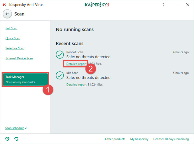 Image: the scan report window in Kaspersky Anti-Virus 2018