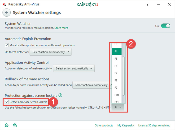 Image: the System Watcher window in Kaspersky Anti-Virus 2018