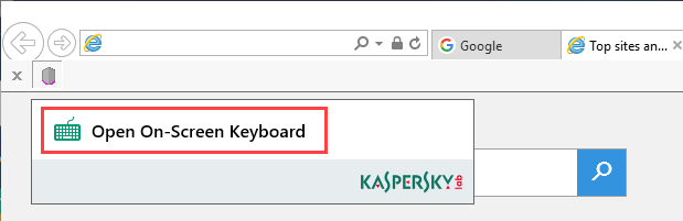 How to open On-Screen Keyboard from the Kaspersky Protection extension