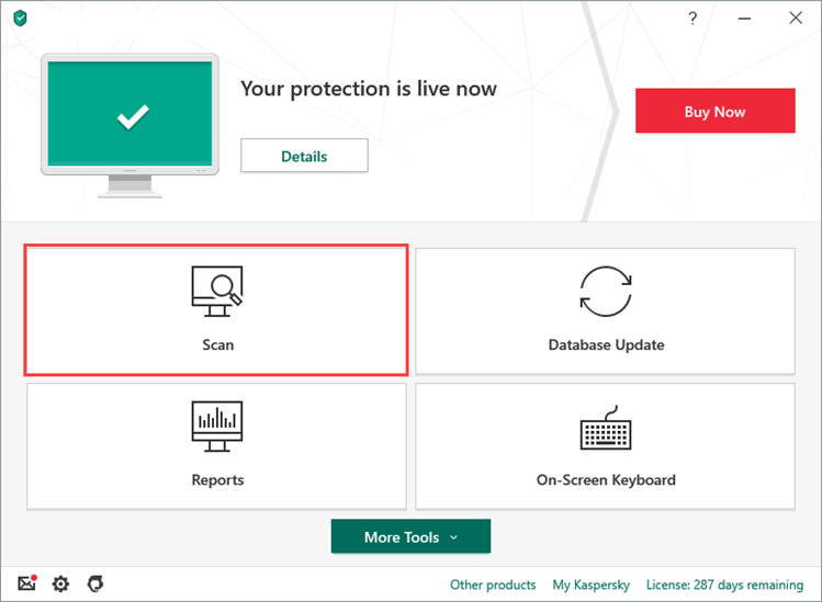 Opening the Scan section in Kaspersky Anti-Virus 20