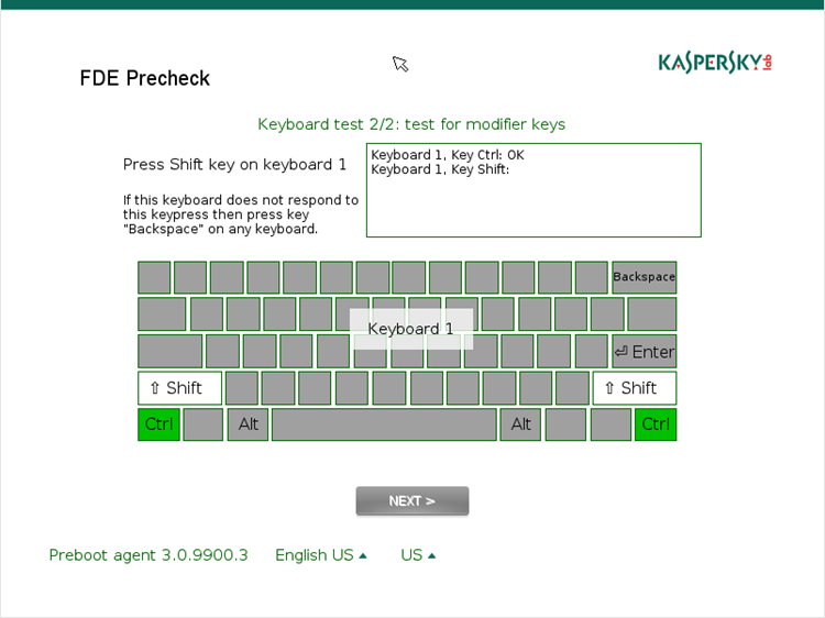 Keyboard test in FDE Test Utility
