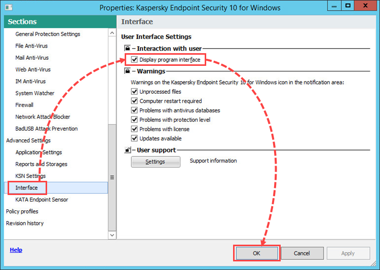 Configuring the Kaspersky Endpoint Security 10 for Windows policy in Kaspersky Security Center 10
