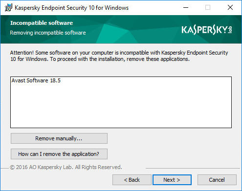 Image: Window with the option to remove incompatible software
