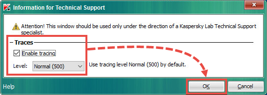 Enabling tracing in Kaspersky Endpoint Security 10 for Windows