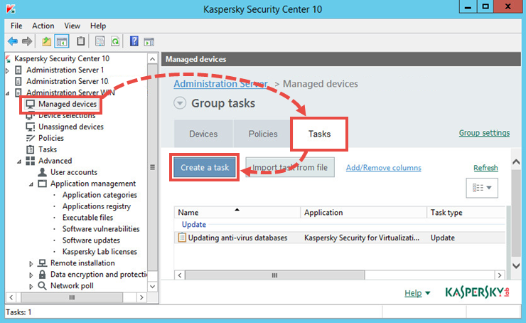 The window for creating a group task in Kaspersky Security Center 10