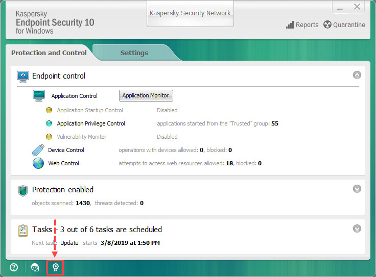 Opening license information in Kaspersky Endpoint Security 10 for Windows