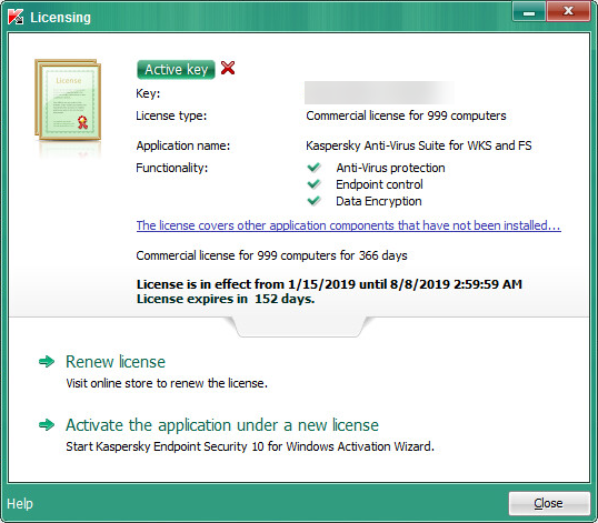 License information in Kaspersky Endpoint Security 10 for Windows