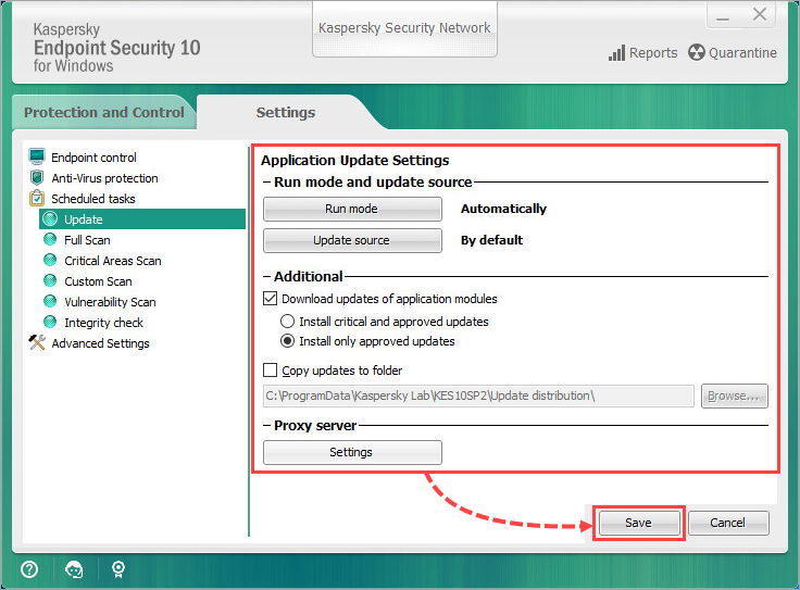 Configuring update settings in Kaspersky Endpoint Security 10 for Windows