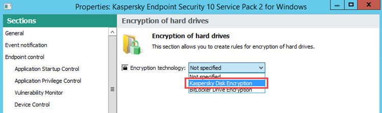 Image: Choose an encryption technology.