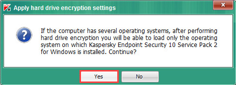 Image: Applying hard drive encryption settings