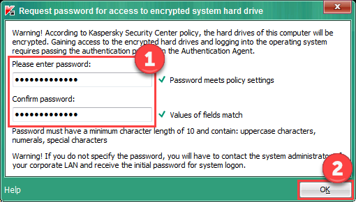 Image: Enter password window