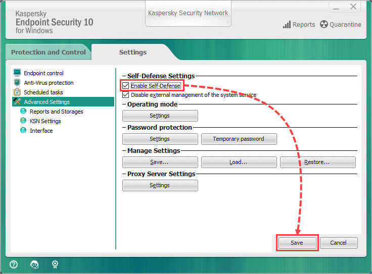Managing Self-Defense in Kaspersky Endpoint Security 10 for Windows