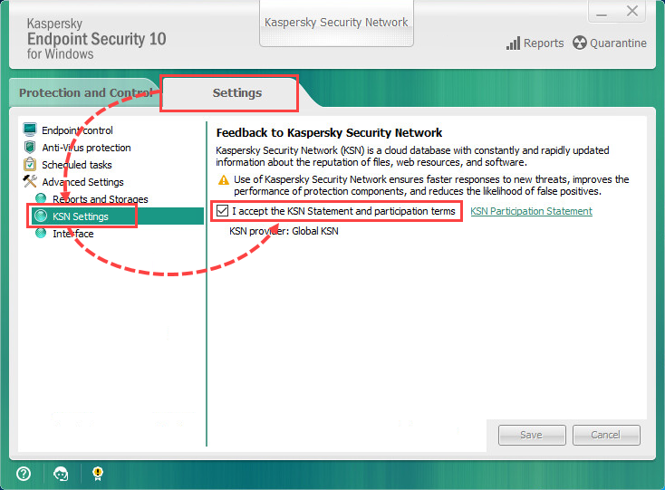 Enabling and disabling KSN in Kaspersky Endpoint Security 10 for Windows
