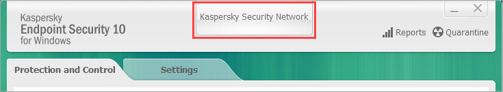 Opening the Kaspersky Security Network window in Kaspersky Endpoint Security 10 for Windows
