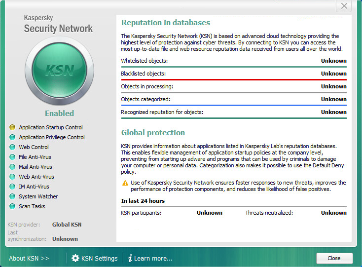 Viewing statistics in Kaspersky Endpoint Security 10 for Windows