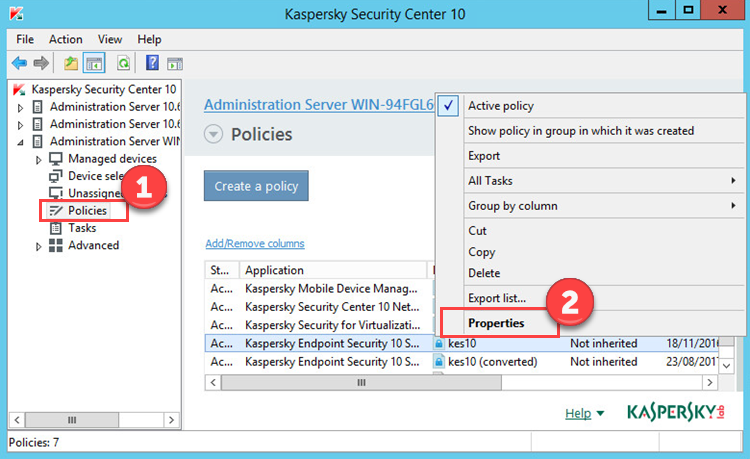 Image: Policies window in Kaspersky Endpoint Security 10