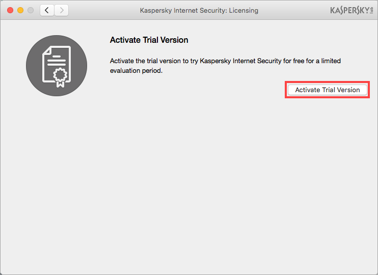 Image: the Licensing window of Kaspersky Internet Security 18 for Mac