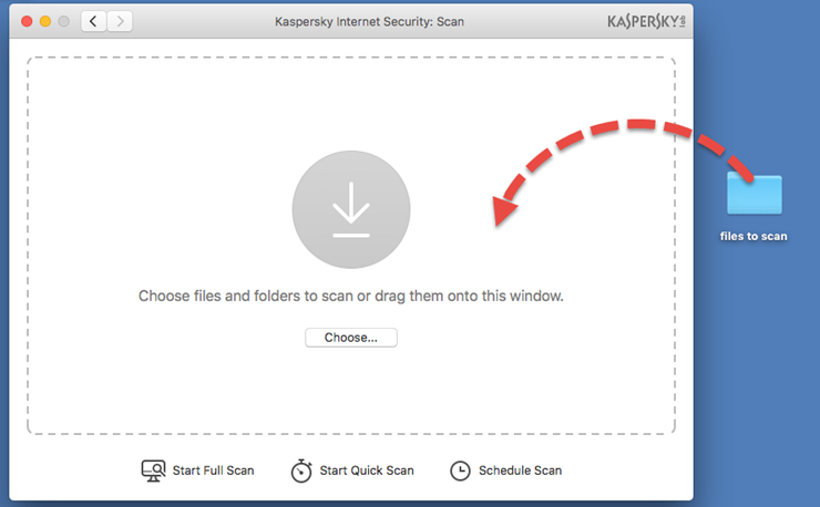 Image: the Scan window of Kaspersky Internet Security 18 for Mac