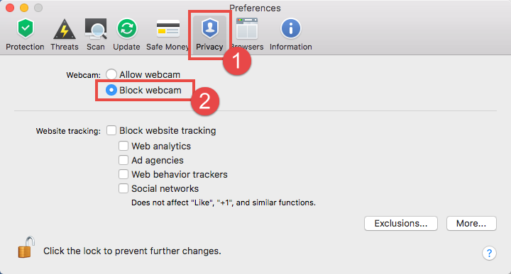Image: the Privacy window of Kaspersky Internet Security 18 for Mac