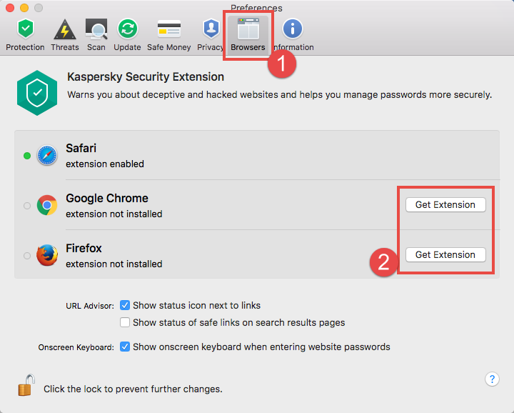 Image: browser settings in Kaspersky Internet Security 18 for Mac