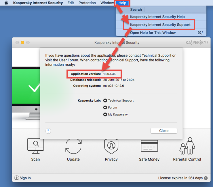 Image: the application version window in Kaspersky Internet Security 18 for Mac