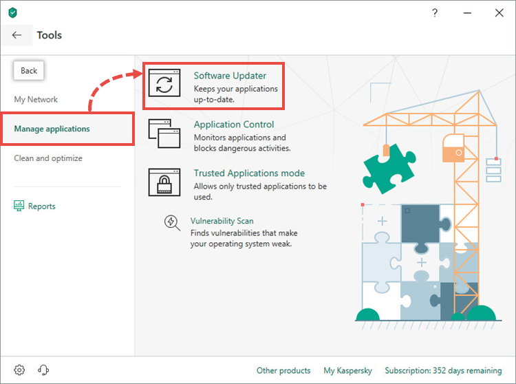 Opening the Software updater feature in Kaspersky Internet Security 19