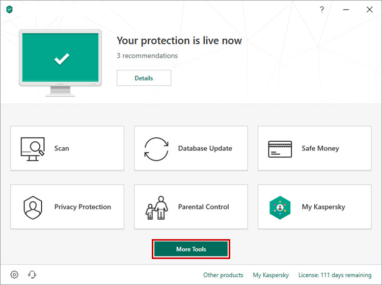 Opening the Tools window of Kaspersky Internet Security 19