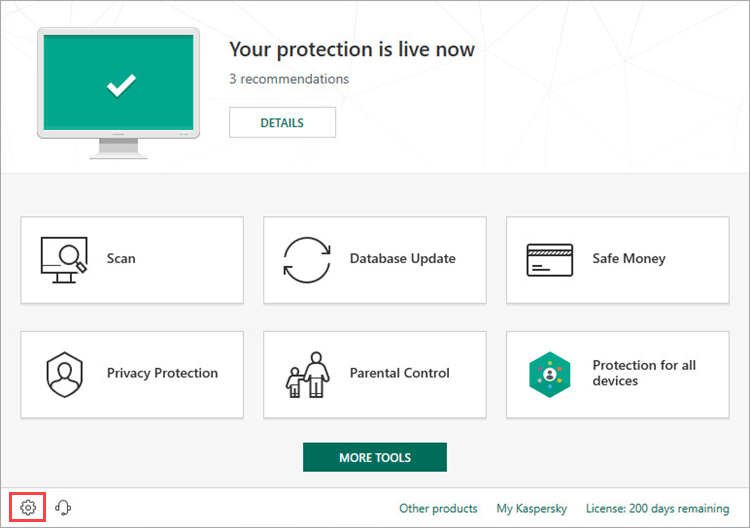 Opening the Settings window of Kaspersky Internet Security 19