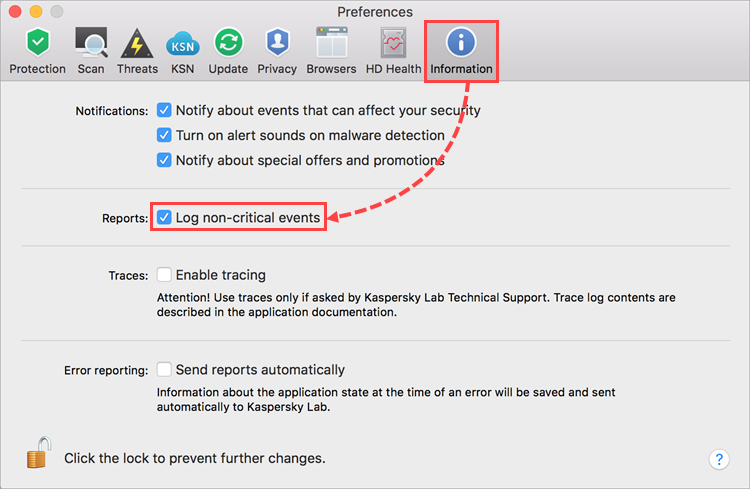 The Information tab in the Kaspersky Internet Security 19 Preferences