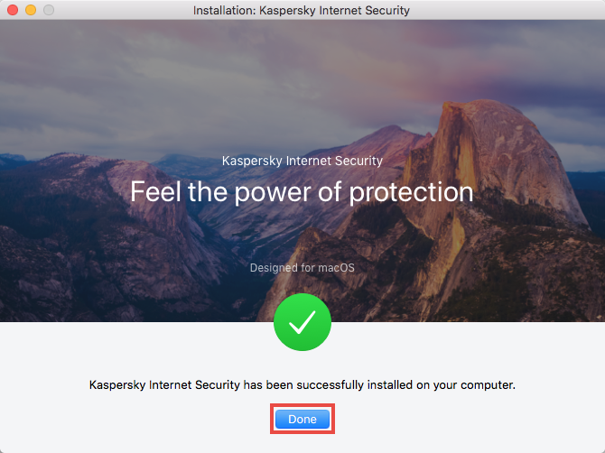 Completing installation of Kaspersky Internet Security 19 for Mac
