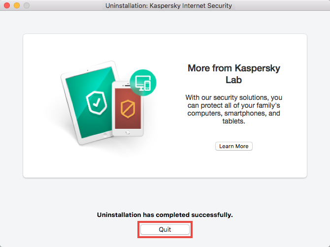 Completing uninstallation of Kaspersky Internet Security 19 for Mac