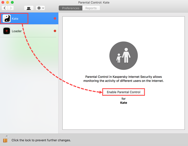 Selecting a user account for configuring Parental Control in Kaspersky Internet Security 19 for Mac