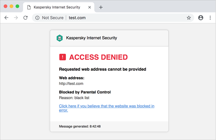 Window in Safari with message about website blocked by Parental Control