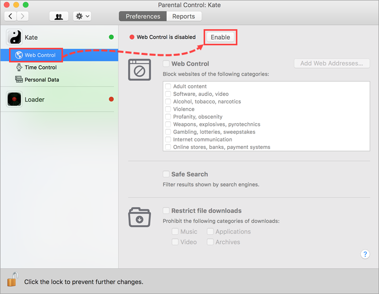 Opening Web Control settings in Kaspersky Internet Security 19 for Mac