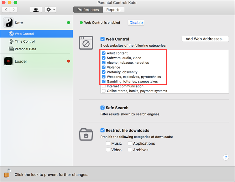 Selecting categories of forbidden websites in Kaspersky Internet Security 19 for Mac