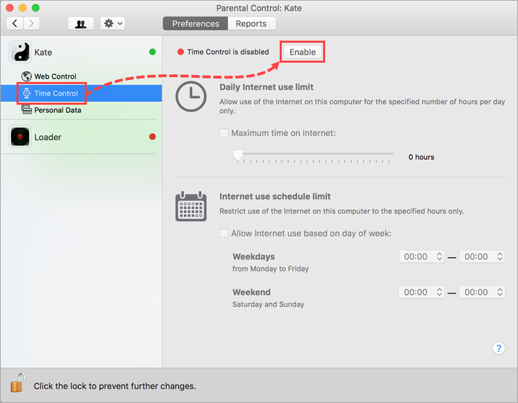 Opening the Time Control settings in Kaspersky Internet Security 19 for Mac