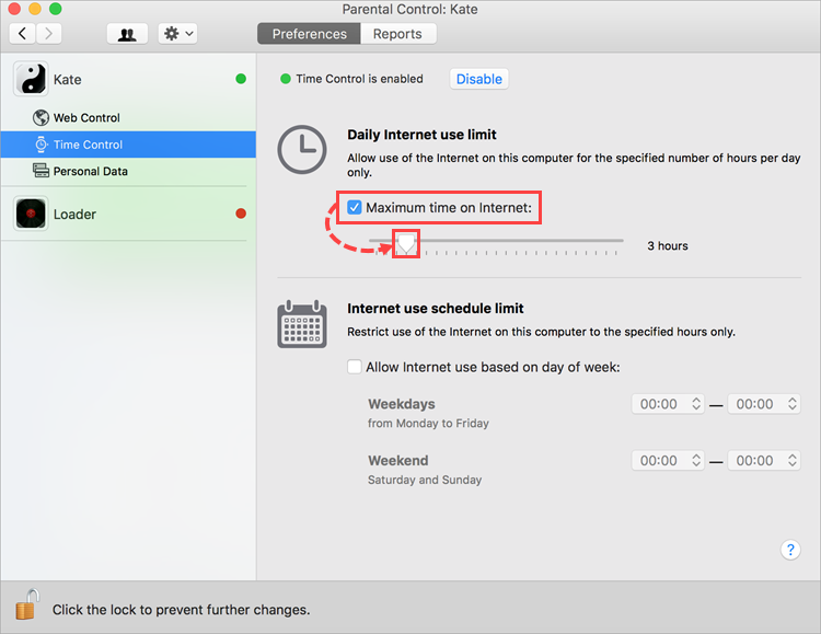 Configuring Internet use time in Kaspersky Internet Security 19 for Mac