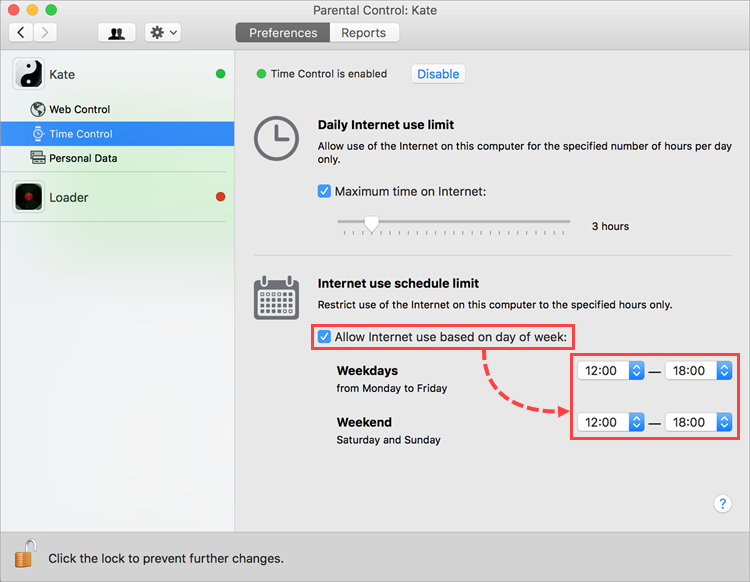 Configuring Internet usage time on certain days in Kaspersky Internet Security 19 for Mac