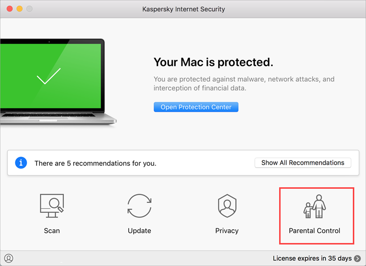 Opening Parental Control settings in Kaspersky Internet Security 19 for Mac