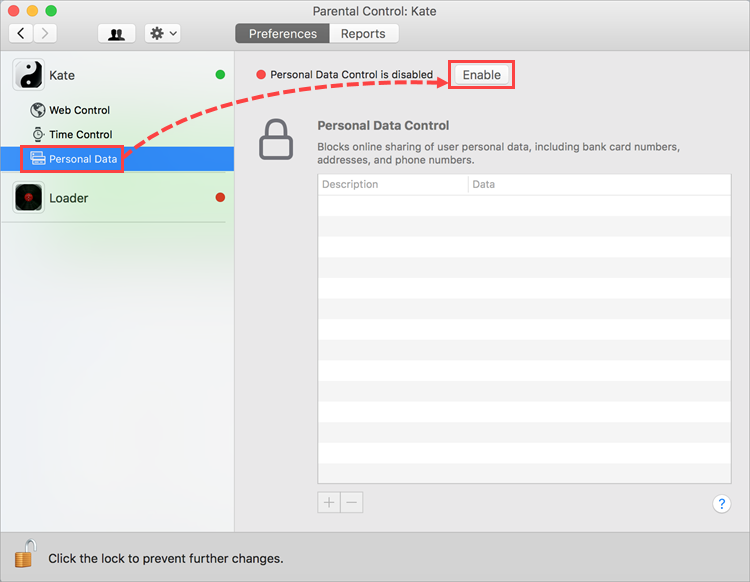 Opening the Personal Data settings in Kaspersky Internet Security 19 for Mac